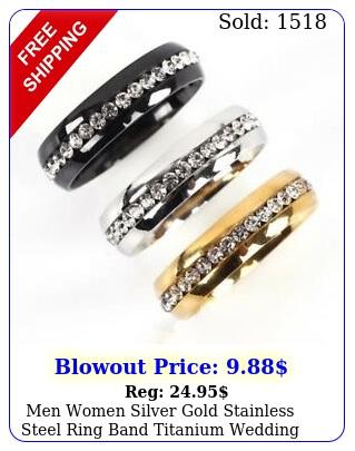 men women silver gold stainless steel ring band titanium wedding engagement rin