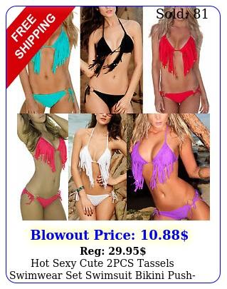 hot sexy cute pcs tassels swimwear set swimsuit bikini pushup halter padde