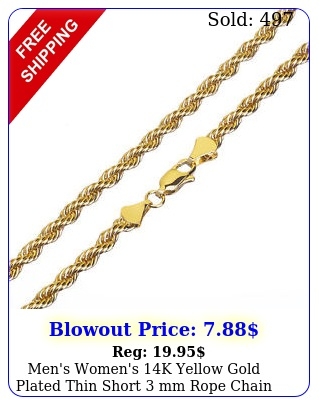 men's women's k yellow gold plated thin short mm rope chain necklace