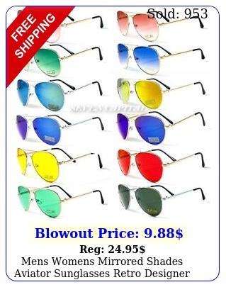 mens womens mirrored shades aviator sunglasses retro designer police pilot meta