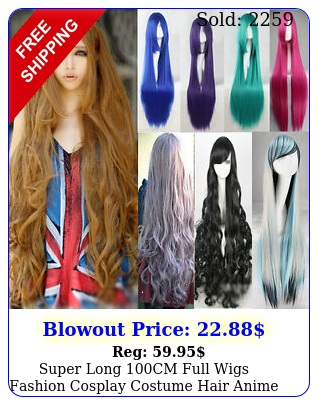 super long cm full wigs fashion cosplay costume hair anime wavy straight cur