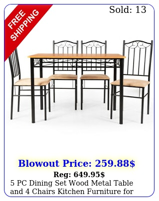 pc dining set wood metal table chairs kitchen furniture dinning roo