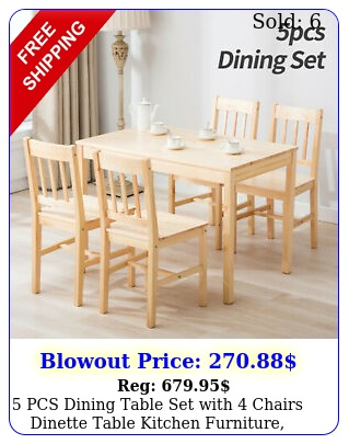 pcs dining table set with chairs dinette table kitchen furniture burlywoo