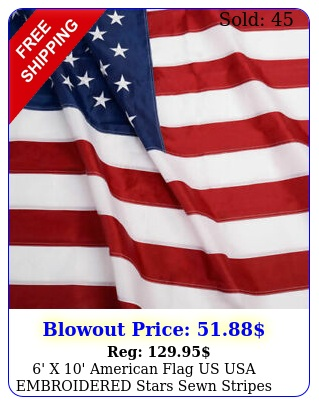 ' x ' american flag us usa embroidered stars sewn stripes brass grommet