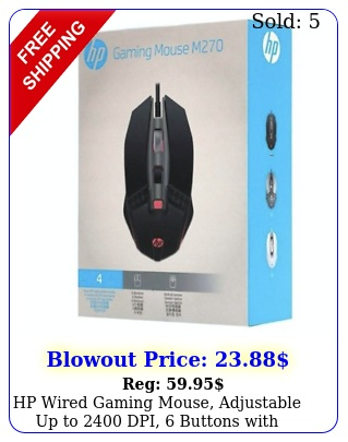 hp wired gaming mouse adjustable up to dpi buttons with breathing ligh