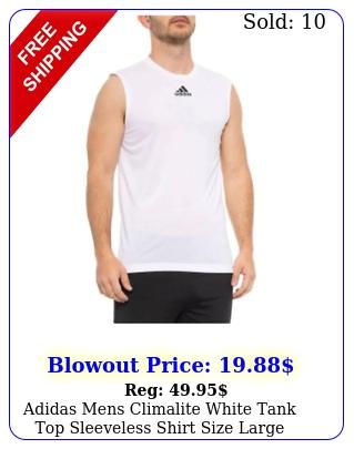 adidas mens climalite white tank top sleeveless shirt size larg