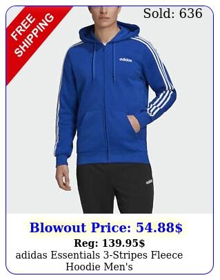adidas essentials stripes fleece hoodie men'