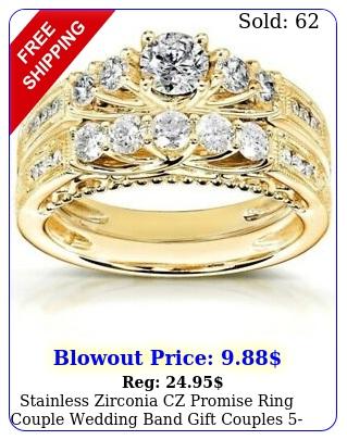 stainless zirconia cz promise ring couple wedding band gift couple