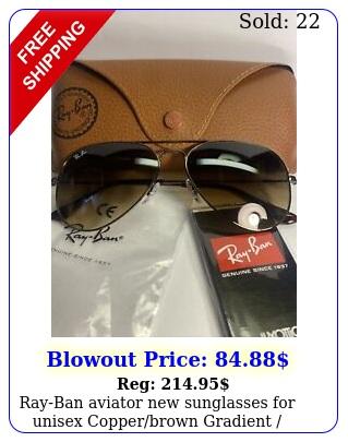 rayban aviator sunglasses unisex copperbrown gradient  rb m