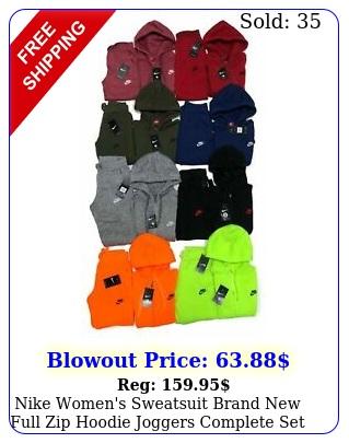 nike women's sweatsuit brand full zip hoodie  joggers complete se