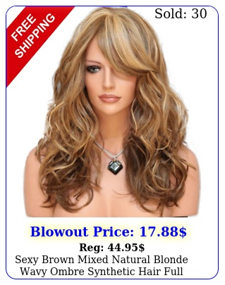 sexy brown mixed natural blonde wavy ombre synthetic hair full wigs bangs wome