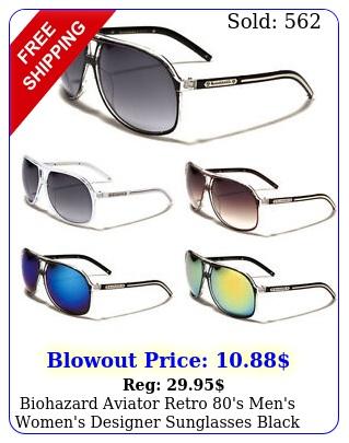 biohazard aviator retro 's men's women's designer sunglasses black white brow