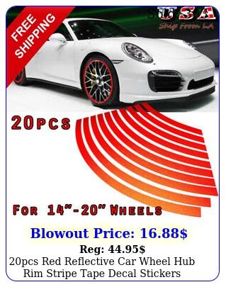 pcs red reflective car wheel hub rim stripe tape decal stickers universa