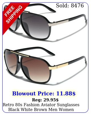 retro s fashion aviator sunglasses black white brown men women vintage glasse