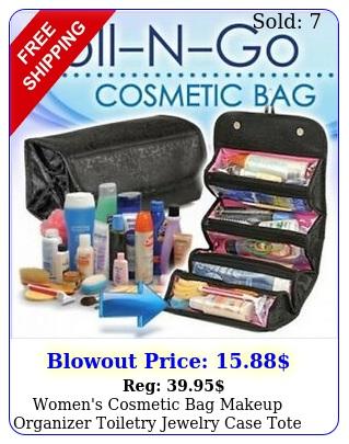 women's cosmetic bag makeup organizer toiletry jewelry case tote bag black re