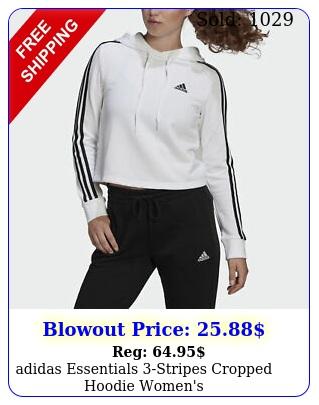 adidas essentials stripes cropped hoodie women'
