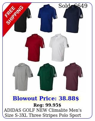 adidas golf climalite men's size sxl three stripes polo sport shirt
