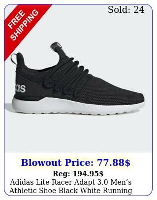 adidas lite racer adapt mens athletic shoe black white running sneake