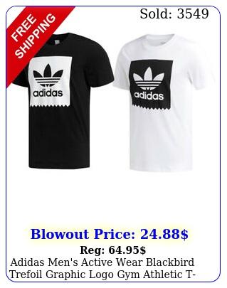 adidas men's active wear blackbird trefoil graphic logo gym athletic tshir