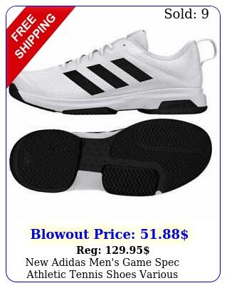 adidas men's game spec athletic tennis shoes various sizeblackwhit
