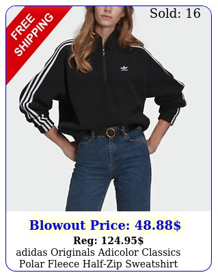 adidas originals adicolor classics polar fleece halfzip sweatshirt women'