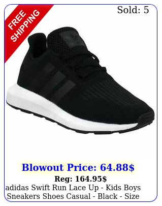 adidas swift run lace up   kids boys sneakers shoes casual  black siz