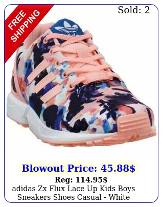 adidas zx flux   lace up kids boys sneakers shoes casual  whit