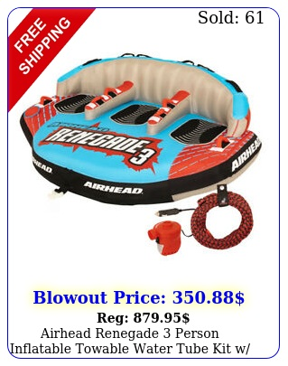 airhead renegade person inflatable towable water tube kit w boat rope pum