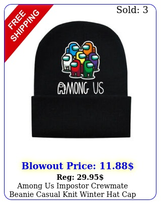 among us impostor crewmate beanie casual knit winter hat cap teens unisex blac