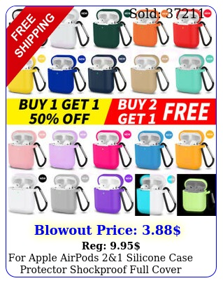 apple airpods silicone case protector shockproof full cover  keychai
