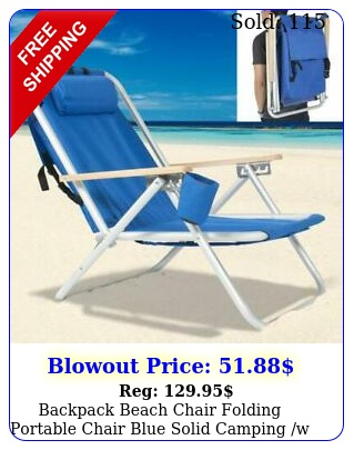 backpack beach chair folding portable chair blue solid camping w pillo
