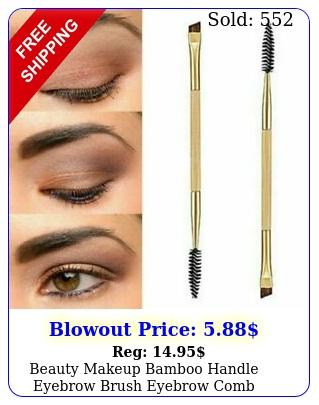 beauty makeup bamboo handle eyebrow brush  eyebrow comb doubleended brushe