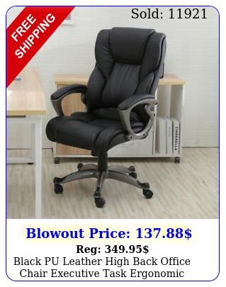 black pu leather high back office chair executive task ergonomic computer des