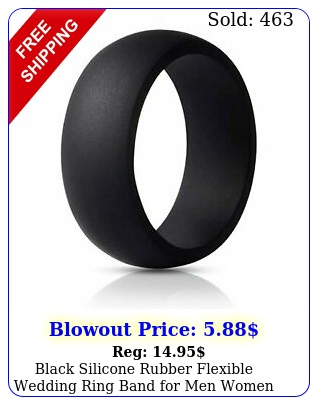 black silicone rubber flexible wedding ring band men wome