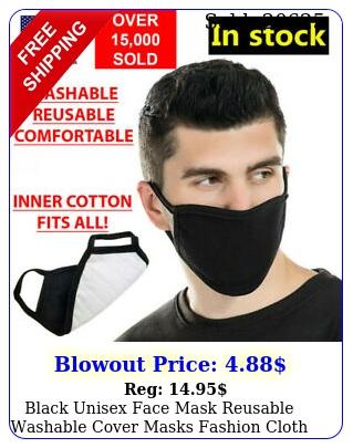 black unisex face mask reusable washable cover masks fashion cloth men women us