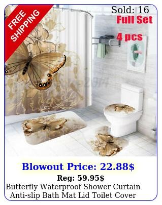butterfly waterproof shower curtain antislip bath mat lid toilet cover door ru