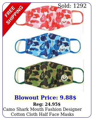 camo shark mouth fashion designer cotton cloth half face masks camouflage cove