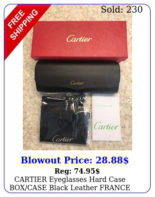 cartier eyeglasses hard case boxcase black leather france magnetic closur