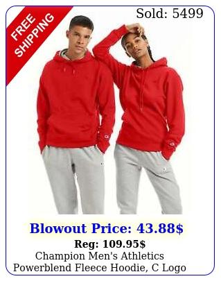 champion men's athletics powerblend fleece hoodie c log