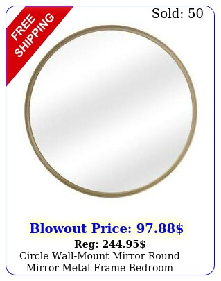circle wallmount mirror round mirror metal frame bedroom bathroom gold inc