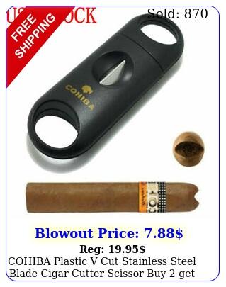 cohiba plastic v cut stainless steel blade cigar cutter scissor buy get fre