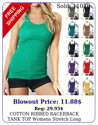 cotton ribbed racerback tank top womens stretch long workout fitness sport yog