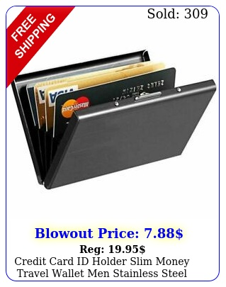 credit card id holder slim money travel wallet men stainless steel rfid blockin