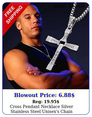 cross pendant necklace silver stainless steel unisex's chain crucifix men wome