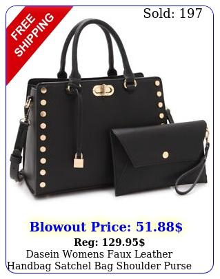 dasein womens faux leather handbag satchel bag shoulder purse with walle