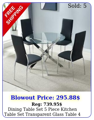 dining table set piece kitchen table set transparent glass table pu chair