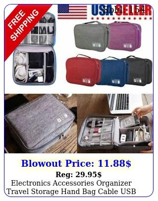 electronics accessories organizer travel storage hand bag cable usb drive cas