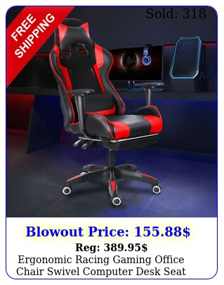 ergonomic racing gaming office chair swivel computer desk seat leather recline