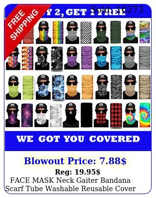 face mask neck gaiter bandana scarf tube washable reusable cover shield headban