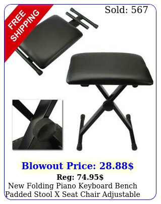 folding piano keyboard bench padded stool x seat chair adjustable heigh